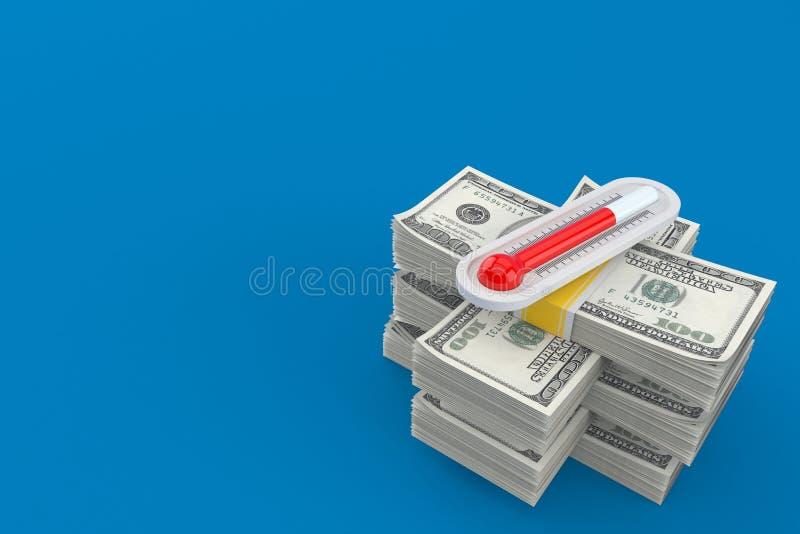Termometer på bunt av pengar royaltyfri illustrationer