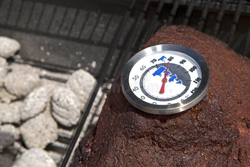 Termometer På En Gallervisningtemperatur Arkivfoto Bild av