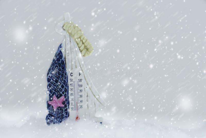 Termometer på insnöad vinter royaltyfri fotografi