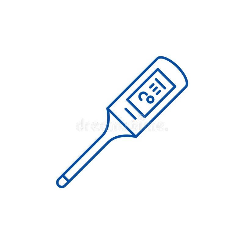 Termometerlinje symbolsbegrepp Plant vektorsymbol för termometer, tecken, översiktsillustration royaltyfri illustrationer