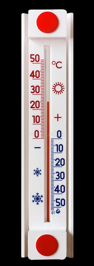 Termometern på en svart isolerad bakgrund visar en temperatur av 25 grader av heat_ royaltyfri foto