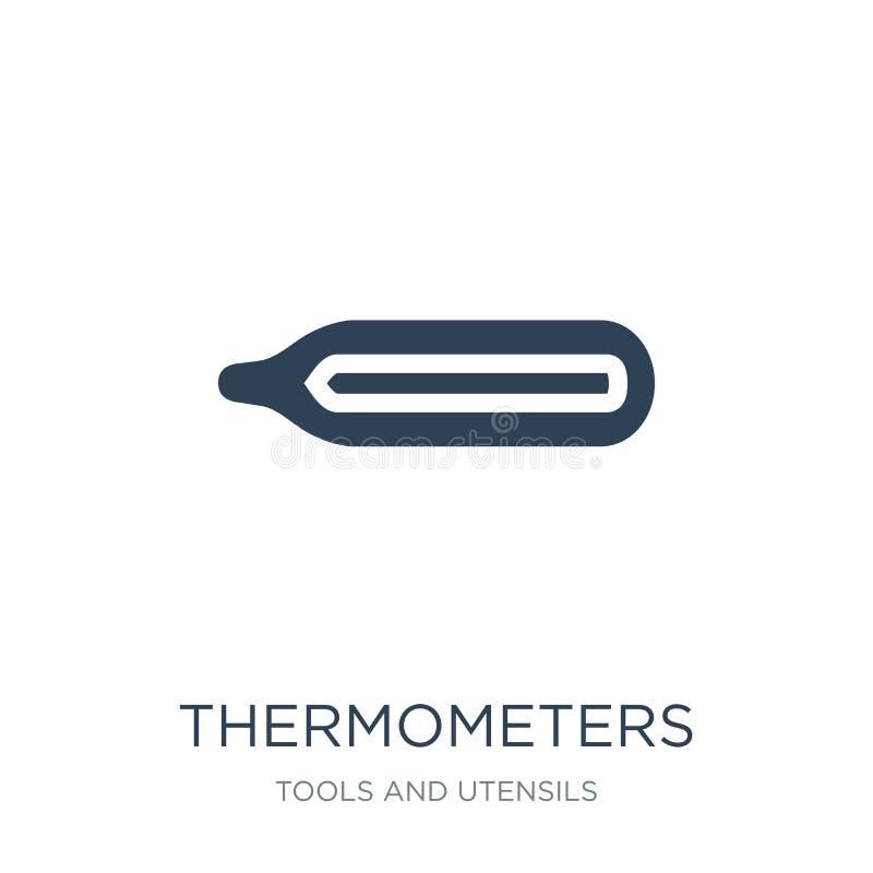 termometersymbol i moderiktig designstil termometersymbol som isoleras på vit bakgrund enkel termometervektorsymbol och vektor illustrationer