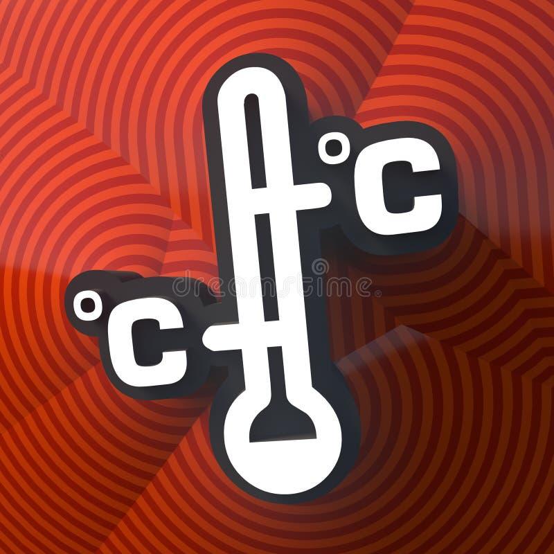 Termometersymbol, knapp med skugga f?rgrikt tecken framf?rande 3d royaltyfri illustrationer