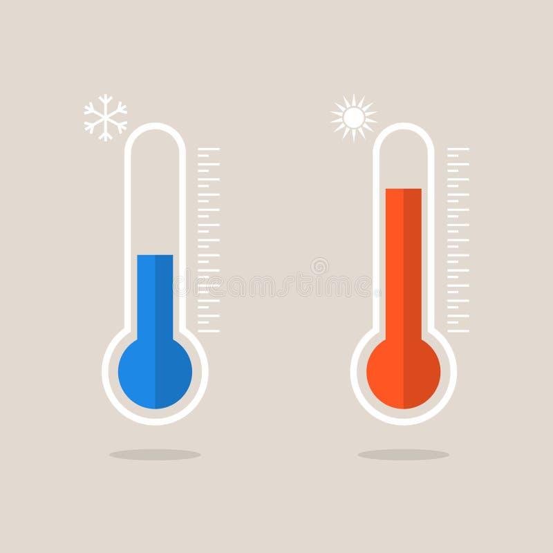 Termometersymboler som mäter värme och förkylning Termometrar som visar varmt och kallt väder vektor illustrationer