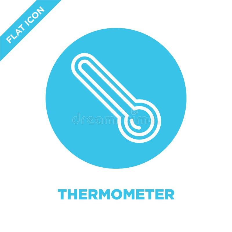 termometersymbolsvektor från vädersamling Tunn linje illustration för vektor för termometeröversiktssymbol Linjärt symbol för bru vektor illustrationer