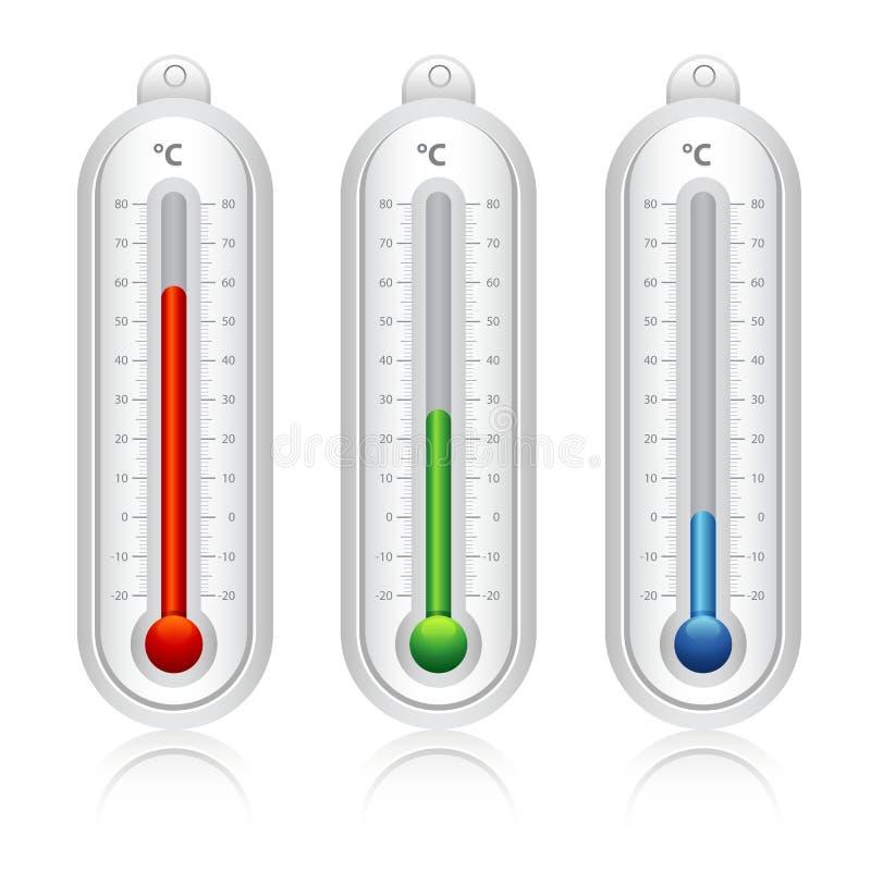 Termometervektor vektor illustrationer