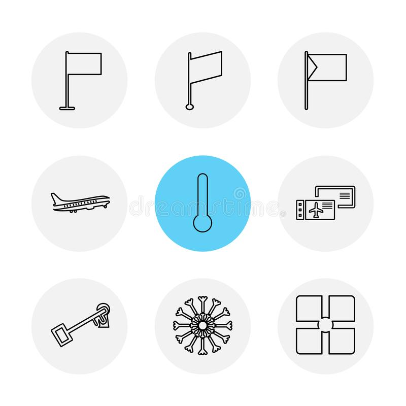termometr, śnieżni płatki, flaga, serca, kamera, pupil ilustracji