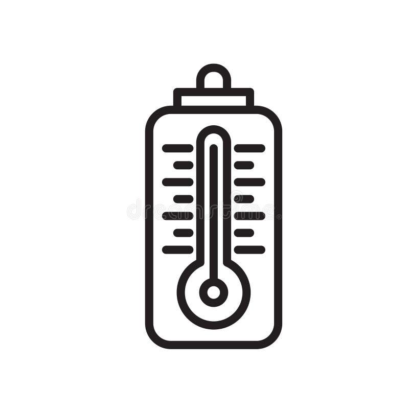Termometr ikony wektor odizolowywający na białym tle, termometru znak, symbol i szyldowy projekt w konturze, kreskowy lub liniowy ilustracja wektor