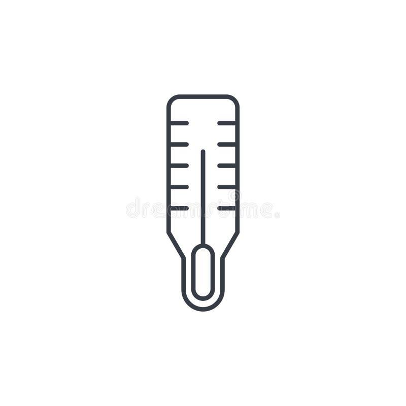 Termometr, opieka zdrowotna instrument, sprzęt medyczny cienka kreskowa ikona Liniowy wektorowy symbol royalty ilustracja