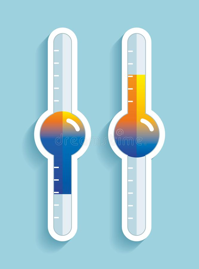 Termometr w mieszkanie stylu, przemiana od zimna gorąca temperatura, projekta element na koloru tle Wektorowy projekta przedmiot ilustracja wektor