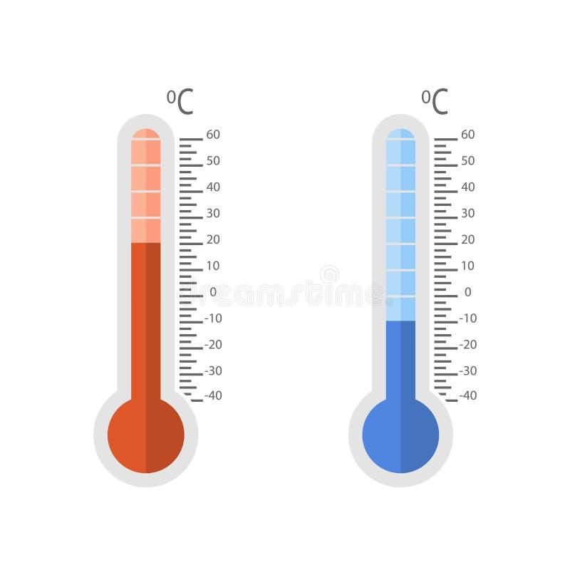 Termometrar ställde in kallt och varmt på en vit bakgrund stock illustrationer