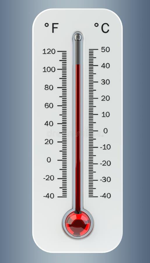 Termometro con la rappresentazione rossa di aumento di temperatura 3D royalty illustrazione gratis