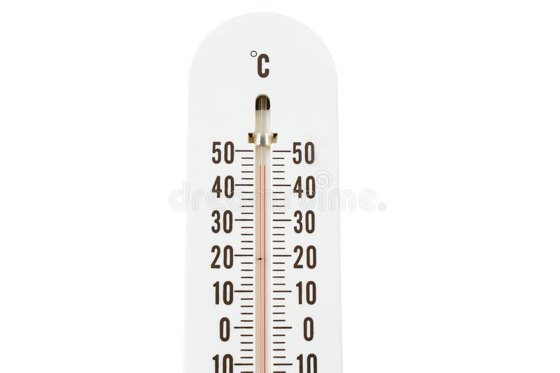 Termometro con la temperatura calda isolato su bianco fotografie stock