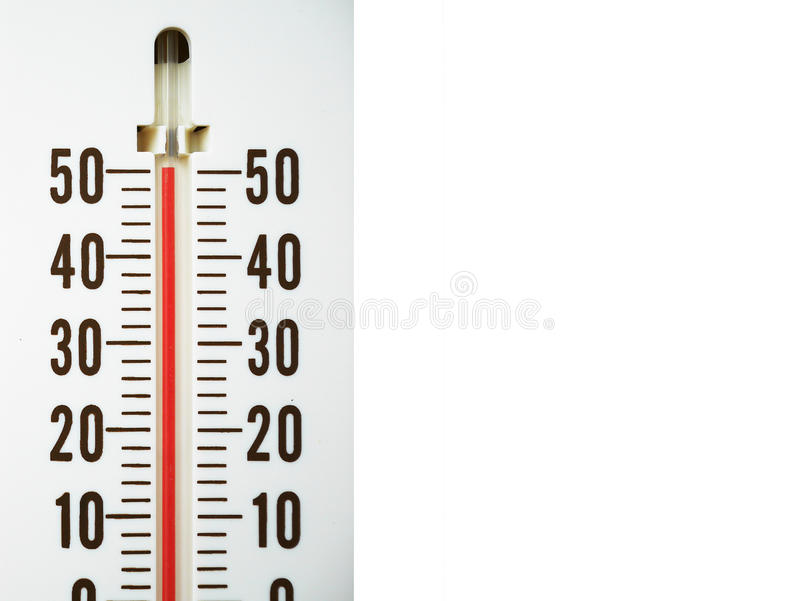 Termometro del primo piano che mostra temperatura nei gradi centigradi fotografia stock libera da diritti