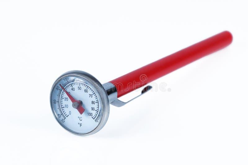 Termometro della bevanda e dell'alimento isolato su bianco fotografie stock libere da diritti