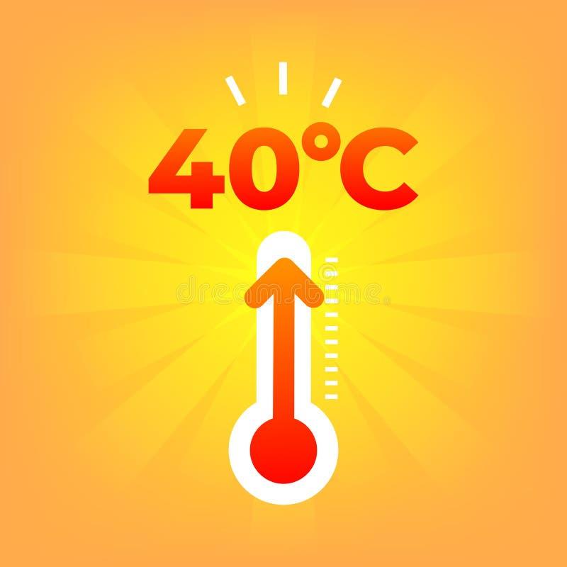 Termometro di calore centigrado 40 gradi Tempo di estate illustrazione vettoriale