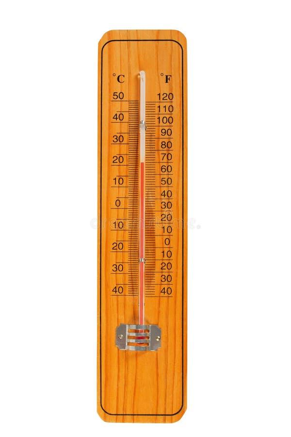 Termometro di legno fotografie stock libere da diritti