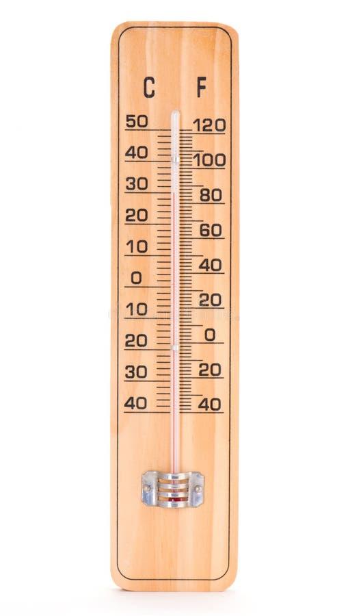 Termometro di legno della stanza immagine stock