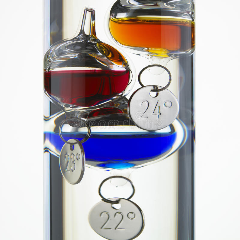 Termometro di vetro del Galileo immagine stock