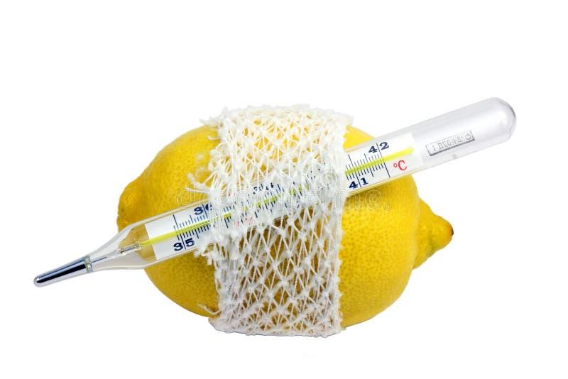 Termometro e limone fotografie stock libere da diritti