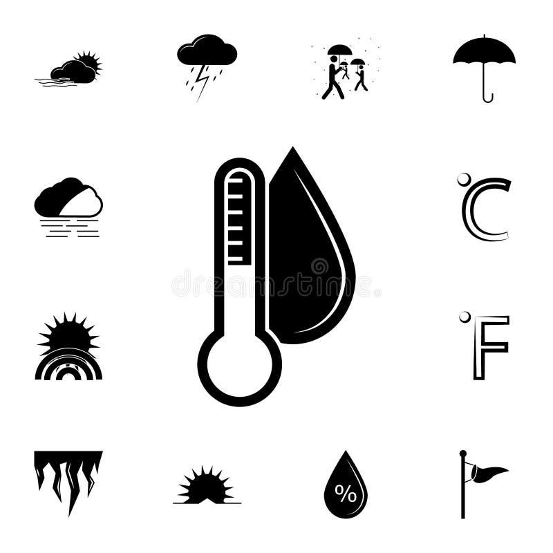 termometro ed icona di umidità Insieme dettagliato delle icone del tempo Progettazione grafica premio Una delle icone della racco royalty illustrazione gratis