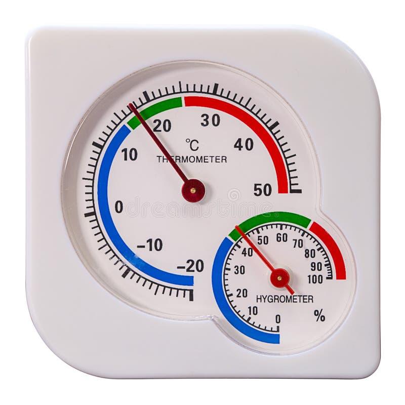Termometro ed igrometro isolati fotografia stock libera da diritti