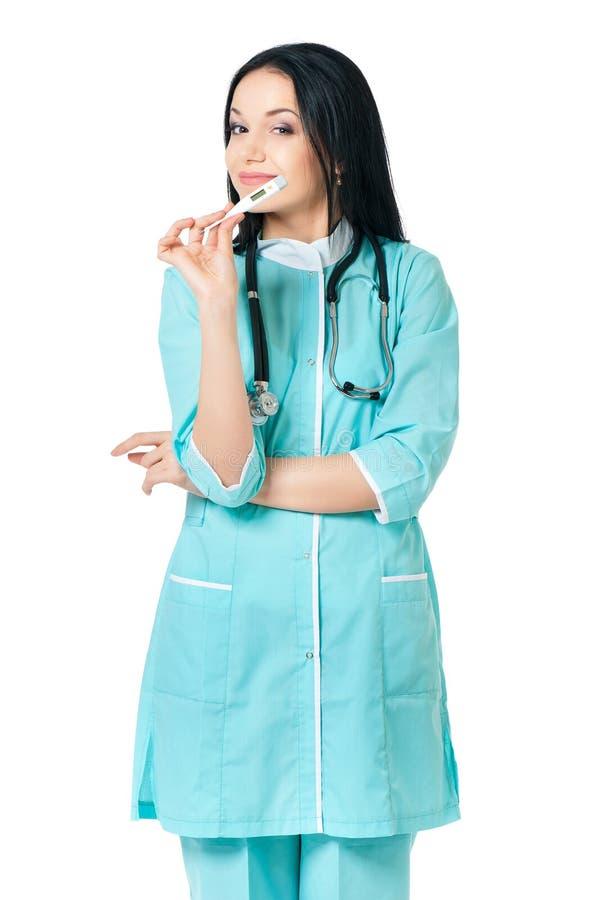 Termometro femminile della tenuta di medico fotografie stock