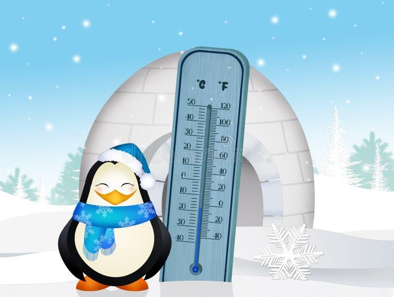 Termometro freddo nell'inverno illustrazione vettoriale