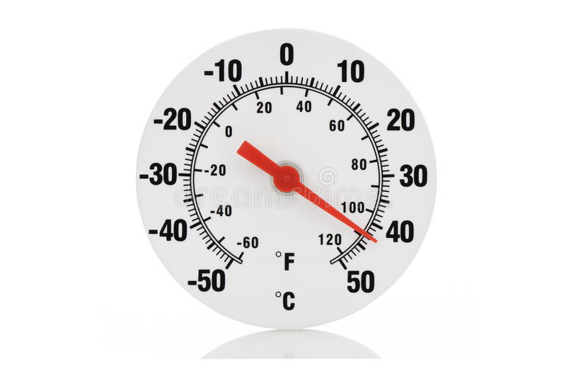 Termometro isolato su bianco fotografia stock