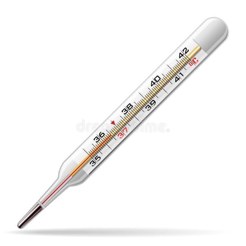 Termometro medico Un termometro di vetro per la misurazione della temperatura del corpo umano Vettore illustrazione vettoriale