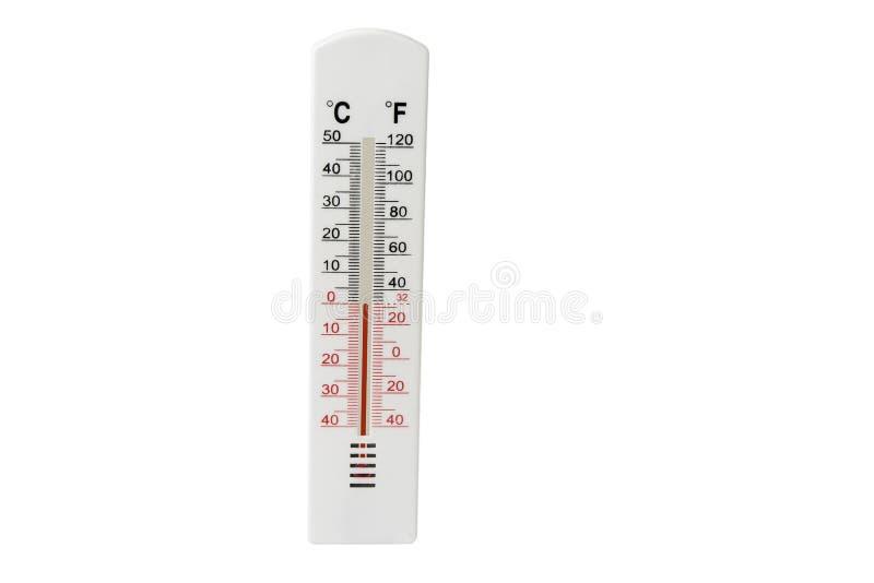 Termometro sul bianco Concetto cambiante del tempo immagine stock