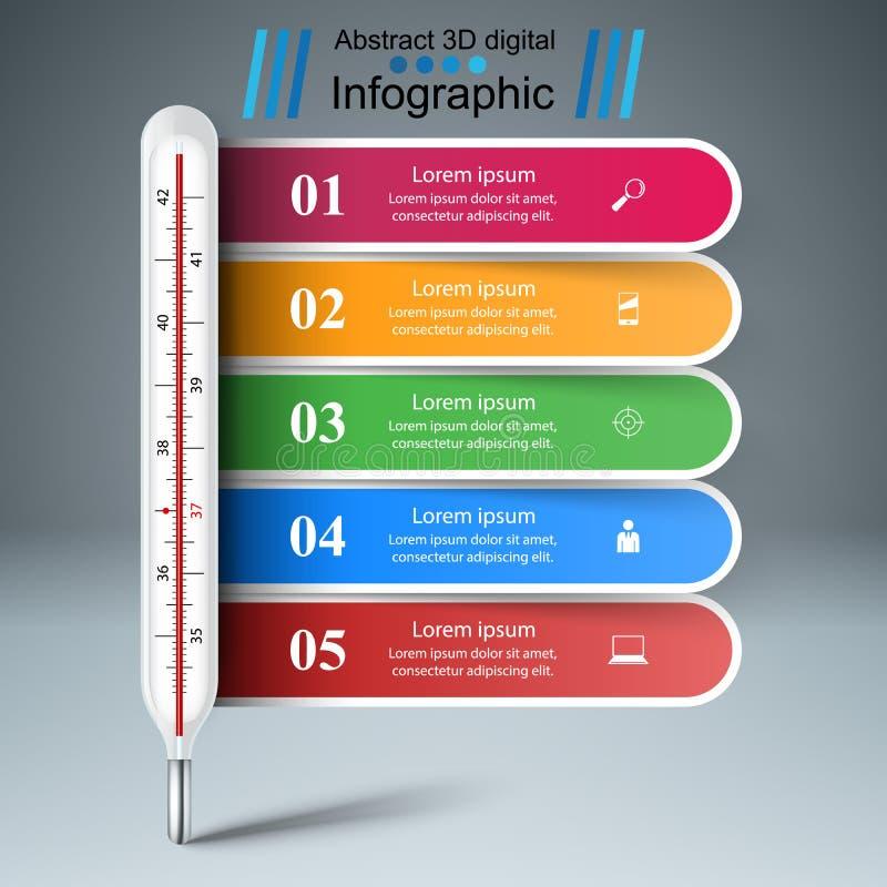 Termometru biznes infographic Pięć papierowa ilustracja royalty ilustracja