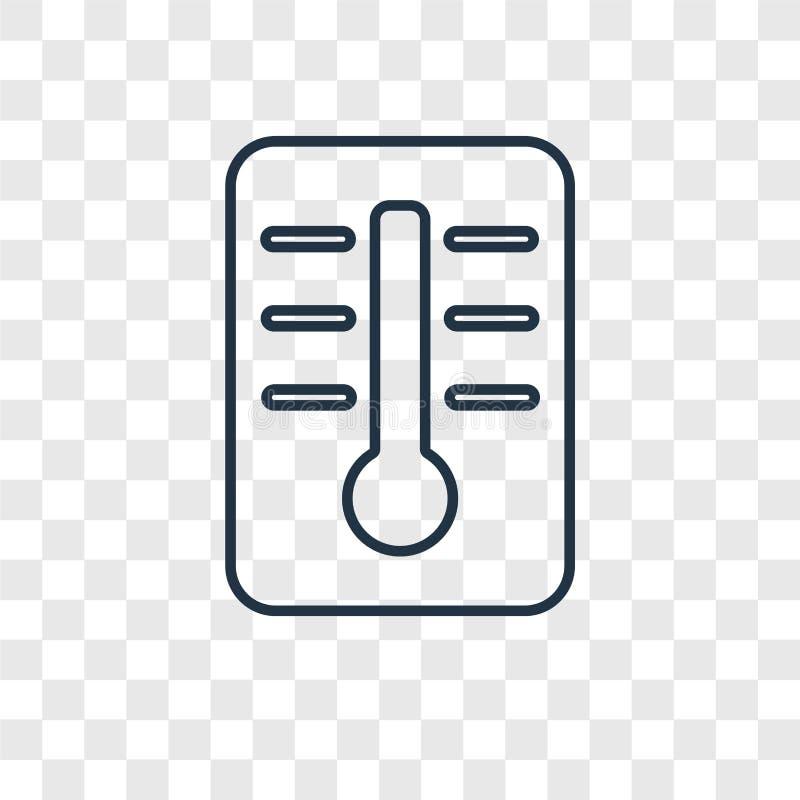 Termometru pojęcia wektorowa liniowa ikona odizolowywająca na przejrzysty b royalty ilustracja