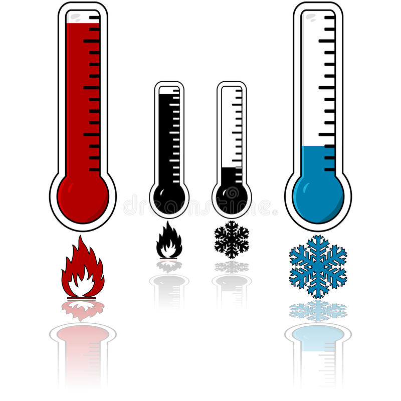 termometru zimny gorący temperaturowy wektor ilustracji