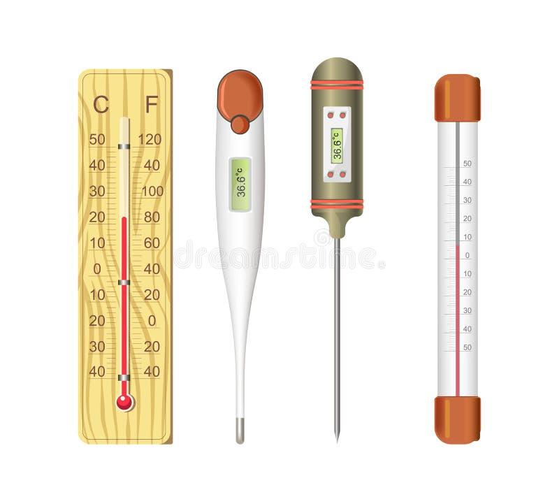 Termometry dla ciała ludzkiego i lotniczej temperatury pomiaru ilustracja wektor