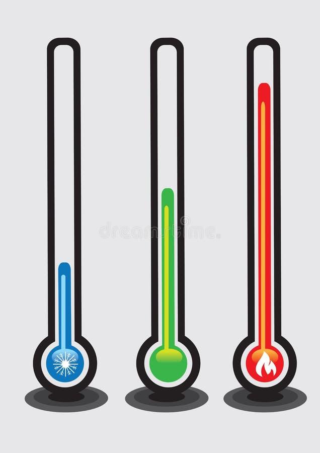 Termometry i Temperaturowa Wektorowa ilustracja ilustracja wektor