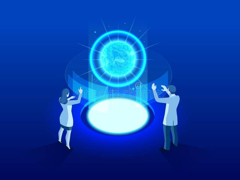 Termonukleär isometrisk tekniskt avancerad kraftverk eller kärnreaktor Utveckling av kärn- eller atom- teknologi stock illustrationer