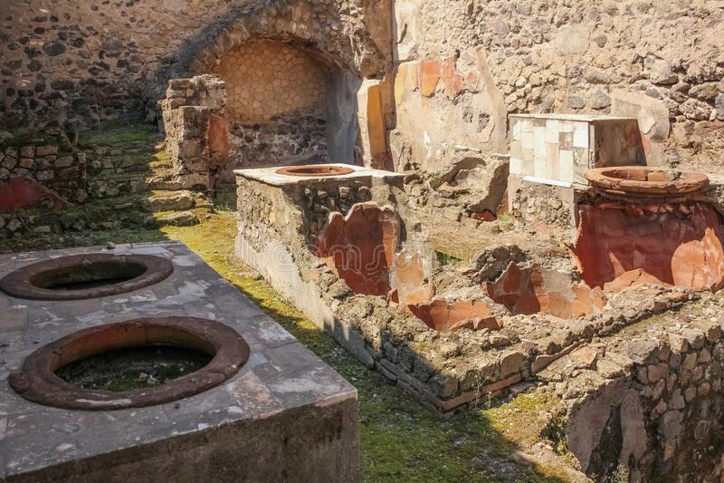 Termopolium lub tawerna Herkulaneum Neapol Włochy fotografia royalty free