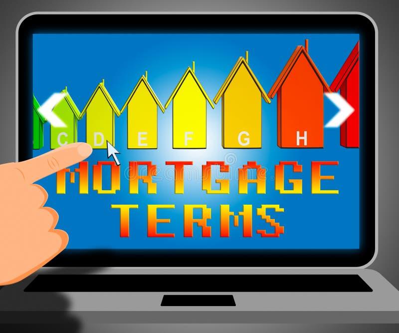 Termos de hipoteca que representam a ilustração do empréstimo 3d do alojamento ilustração royalty free