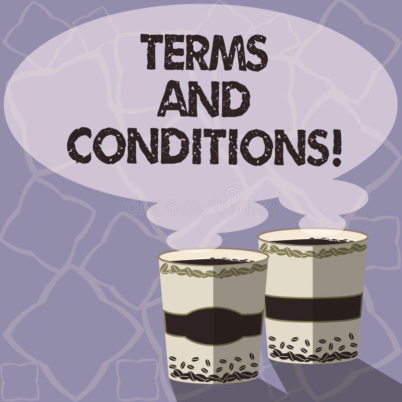 Termos e condições da escrita do texto da escrita Detalhe do significado do conceito as regras que se aplicam para carregar um de ilustração do vetor