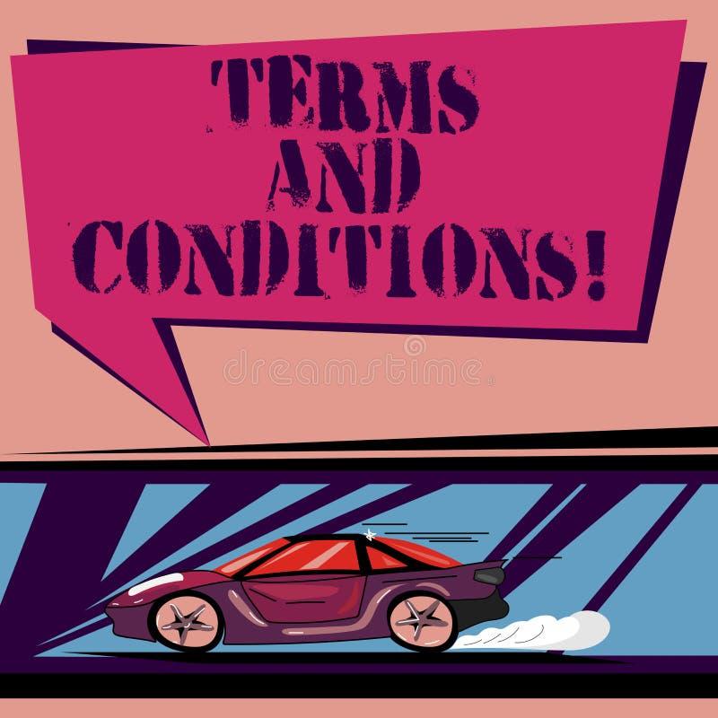 Termos e condições do texto da escrita Detalhe do significado do conceito as regras que aplique para carregar um determinado carr ilustração do vetor