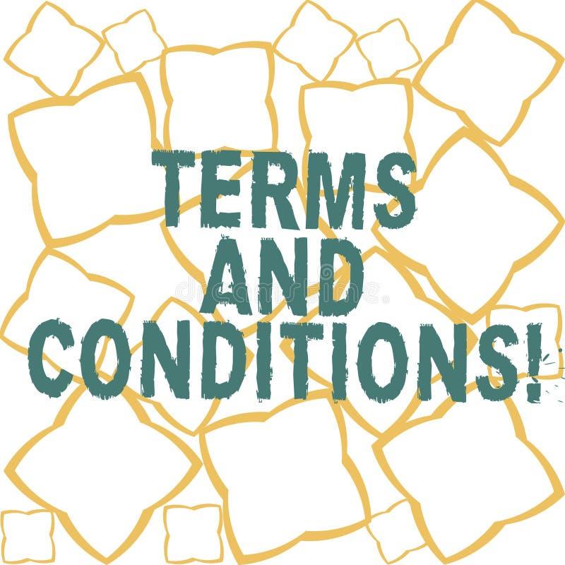 Termos e condições do texto da escrita Detalhe do significado do conceito as regras que se aplicam para carregar uma determinada  ilustração royalty free