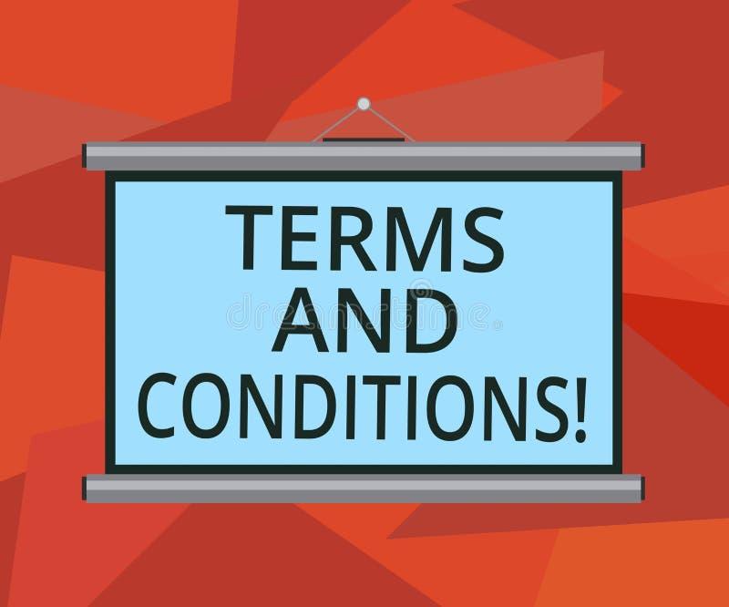 Termos e condições do texto da escrita da palavra Conceito do negócio para o detalhe as regras que se aplicam para carregar um de ilustração royalty free