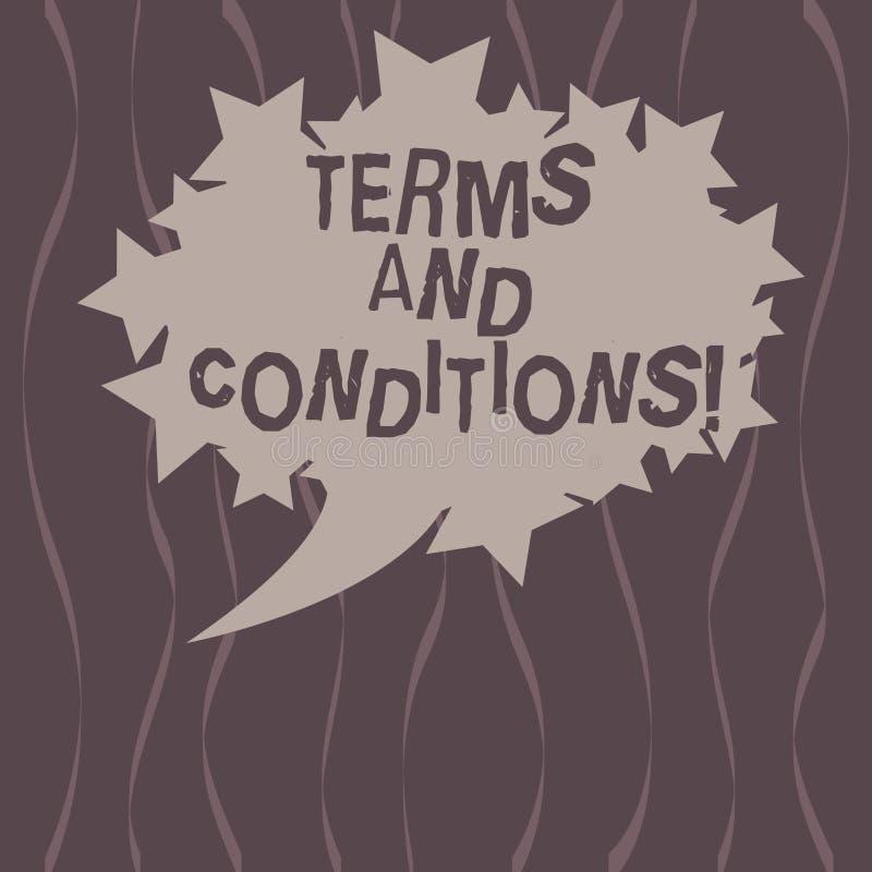 Termos e condições do texto da escrita da palavra Conceito do negócio para o detalhe as regras que se aplicam para carregar um de ilustração do vetor