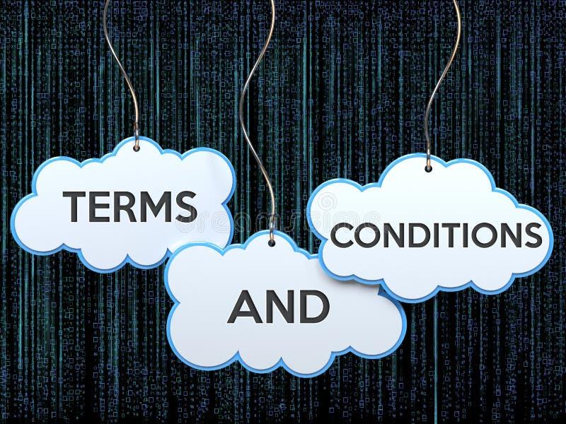 Termos e condições na bandeira da nuvem ilustração royalty free