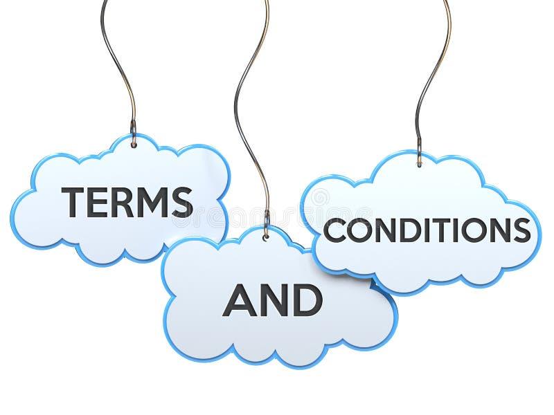 Termos e condições na bandeira da nuvem ilustração do vetor