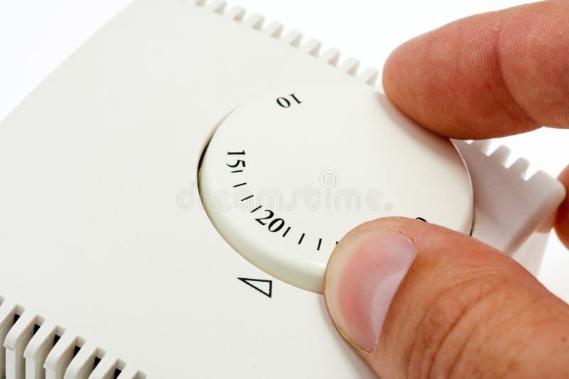 termostat för handlokalinställning arkivbilder