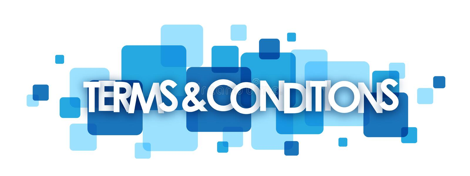 TERMS & CONDITIONS blue overlapping squares banner. Vector stock illustration