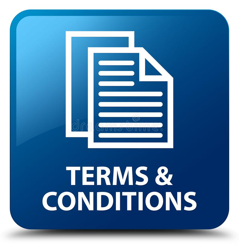 Terms and conditions (pages icon) blue square button. Terms and conditions (pages icon) on blue square button abstract illustration stock illustration