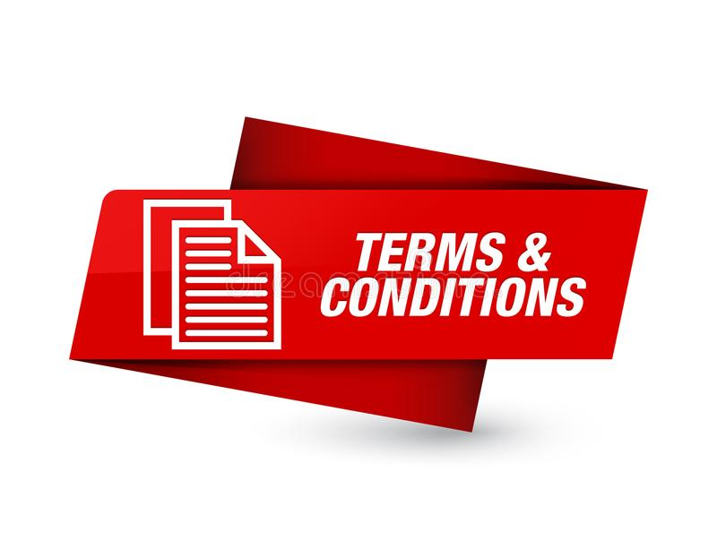Terms and conditions (pages icon) premium red tag sign. Terms and conditions (pages icon) isolated on premium red tag sign abstract illustration vector illustration